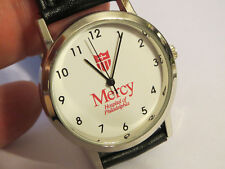Mercy Hospital of Philadelphia Silver Wristwatch with Black Leather Band