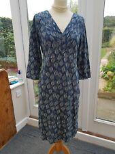 WHITE STUFF Teal Leaf Pattern Jersey Dress Size 14 Worn Once