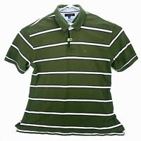Tommy Hilfiger Mens XXL Green Striped Polo Shirt Short Sleeve Embroidered Flag