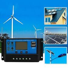 30A Solar Charge Controller 12V/24V LCD Display Dual USB Solar Panel Charger PWM