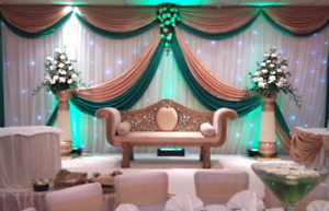 10x20ft gold&green wedding backdrop top 4 swag and middle design