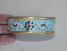 Robert Kuo Beverly Hills Blue Enameled Cloisonne Flower Scroll Bangle Bracelet