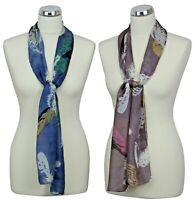 Peony 100% Silk Blue Feather Scarf Cornflower Lilac Purple Scarves Feathers Gift