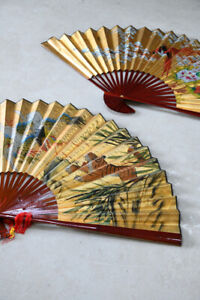 Pair Decorative Oriental Wall Fans