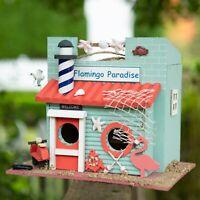 Flamingo Paradise Birdhouse Wildlife Outdoor Garden Yard Wood Sea Tropical