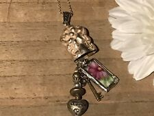 Recycled Flatware & Porcelain Jewelry, Flatware w/ Floral Pendant
