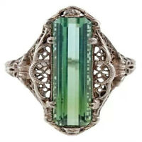 Turkish Handmade Jewelry Silver Emerald Ladies Wedding Party Ring Size 6-10