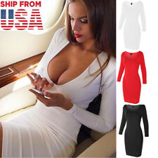 Women's Long Sleeve Bodycon Sexy Dress Casual Party Evening Cocktail Mini Dress