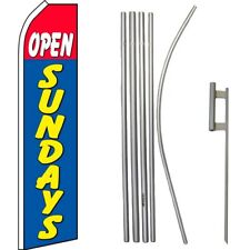 Open Sundays Red/Blue/Yellow Swooper Flag & 16ft Flagpole Kit/Ground Spike