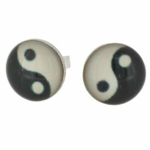 Sterling Silver and Resin Yin Yang Stud Earrings by Touch Jewellery    925 Studs