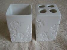 "John Lewis bathroom set toothbrush holder & cup Ceramic height 4"" 10cm"
