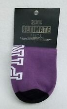 2 PAIRS Victoria's Secret Pink PURPLE PINK STRIPE No-Show Ultimate Ankle Socks