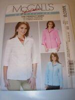 WOMENS UNCUT MCCALLS Sewing Pattern M6076 BUTTON DOWN BLOUSE SHIRT TOP SIZE 8-14