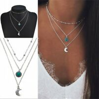 Bohemian Multilayer Chain Choker Silver Necklace Turquoise Moon Pendant Jewelry