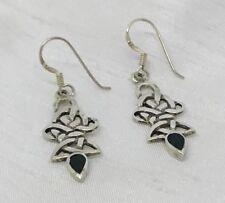.925 Sterling Silver Black Onyx Inlaid Swirl Dangle Earrings