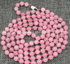 "Fine natural 6mm pink rose quartz round beads Gemstone Necklace 36"""