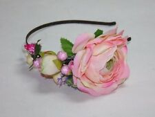 Wedding Headpiece, Pink/White Colors Headband, Flower Headband with Fake Fruits