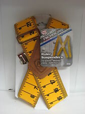 "McGuire Nicholas Suspenders 2"" Yellow Ruler Tape Measure Yard Stick Men Unisex"