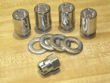 Set 4 Steel Wheels Chrome Locking Lug Nuts, Washers & Removal Tool ~ 12mm x 1.5