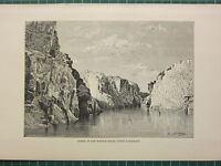 C1890 Antico Stampa ~ Gorge Di The Marmo Rocks Superiore Narbadah