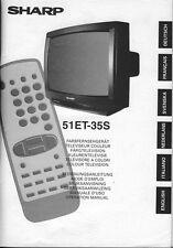 Bedienungsanleitung TV Farbfernsehgerät SHARP 51ET-35S / Operation Manual