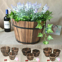 Retro Wooden Barrel Succulent Plants Flower Pots Home Garden Wedding Party Decor
