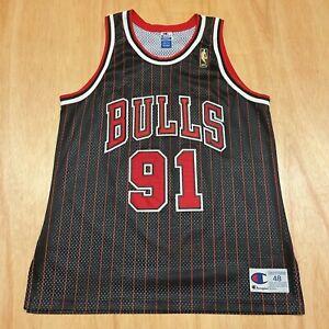 100% Authentic Dennis Rodman Vintage Champion 96 97 Bulls Signed Jersey Size 48
