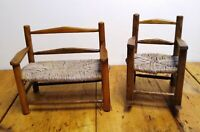 Rocking Chair & Love Seat Caned Wood Miniature Furniture (2) Pc Vintage Handmade