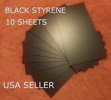 BLACK STYRENE SHEETS (10) .060 (1.5 MM) POLYSTYRENE 0.06 .06