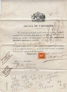CHILE 1871 First Perforate 1c Aduana de Valparaiso