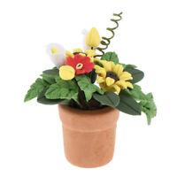 1/ 12 Dollhouse Miniature Potted Clay Sunflower Plants Garden Decoration