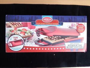 American Originals Flip-Over Electric Waffle Maker Red Non-stick Excellent Cond
