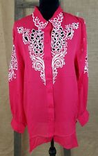 260aa7a21fb4a2 Bob Mackie s womens size L Georgette silk floral cut out long sleeve shirt  red