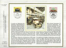 Sheet CEF 1er Day on Silk Belgium Cars of Collection 1986