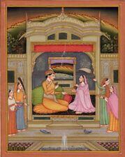 Large Indian miniature Royal scene, gouache and gilt