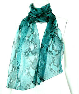 GUCCI by TOM FORD Spring 2000 Aqua Python Print Silk Chiffon Stole Scarf