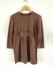 Womens Soft Wool/Acrylic Mix Knitted Dress Size M Flower Appliqué <R12209