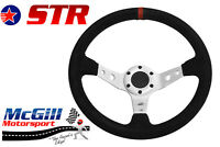 "STR 13"" 350mm Deep Dish Steering Wheel Drifting Rally White Spars Black Suede"