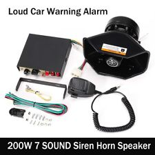 200W 12V 7 Sound Loud Speaker PA Horn Siren System Mic Kit Police Car Fire Truck