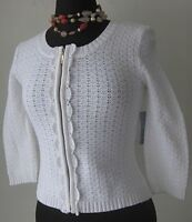 Cable & Gauge Women's Caridgan Sweater Zip Whie size Petite Small New