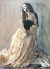 WILLIAM OXER ORIGINAL CANVAS Hopeful Glance Rococo Baroque Woman Girl PAINTING