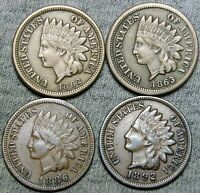 1862 1863 1886 1892 Copper Nickel Indian Cent Penny ---- Nice Lot  ---- #J711