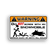 Snowmobile Warning Sticker Funny Caution Decal Snow Ski Sled Race Graphic Bumper