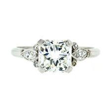 Antique Art Deco Platinum 2.34ctw GIA Radiant & Marquise Diamond Engagement Ring
