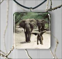 ELEPHANT FAMILY SQUARE PENDANTS NECKLACE EARRINGS -uyk8Z