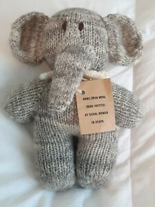 Hand Knitted Elephant Plush Toy Kenya Natural Wool With Tag
