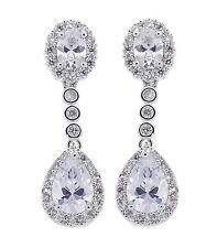 CLIP ON EARRINGS - luxury drop earring with Cubic Zirconia stones - Misty