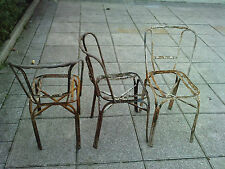 LOT DE 3 CHAISES design 40/50 fer forgé art deco ?