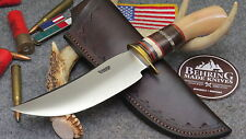 "BEHRING MADE 6"" PREMINUM MUSK OX HUNTER KNIFE WITH LEATHER SHEATH"