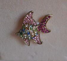 KIRKS FOLLY ANGEL FISH PIN IN GOLD TONE